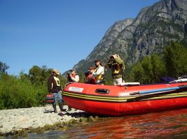 mountani views on atnarko river eco rafting tour kynoch adventures bella coola bc canada